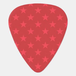 Red stars pattern guitar pick