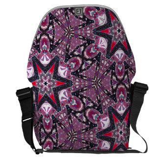 Red Stars Purple Kaleidoscope Messenger Bag