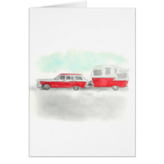 Red Stationwagon and Camper Card