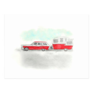 Red Stationwagon and Camper Postcard