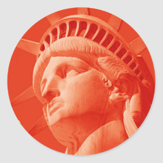 Red Statue of Liberty Round Sticker