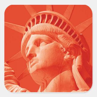 Red Statue of Liberty Square Sticker