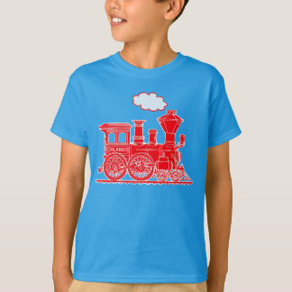Red steam loco train custom name kids t-shirt