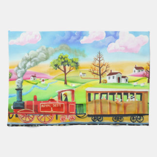 Red steam train naive folk art painting kitchen towel