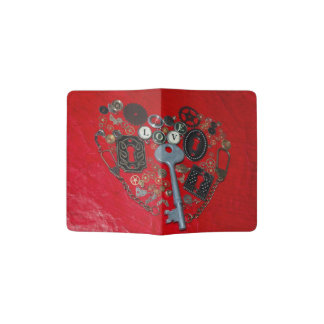 Red Steampunk Heart Passport Holder