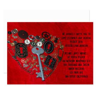 "Red Steampunk Heart Wedding 5.5"" X 7.5"" Invitation Card"