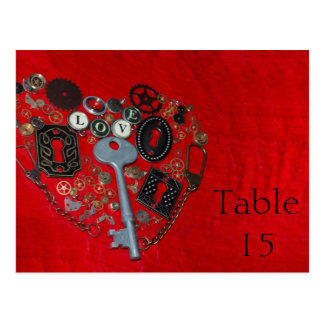 Red Steampunk Heart Wedding Table Numbers Postcard