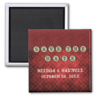 Red Steampunk Keys Save the Date Magnet