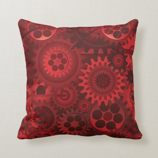 Red Steampunk Throw Pillow