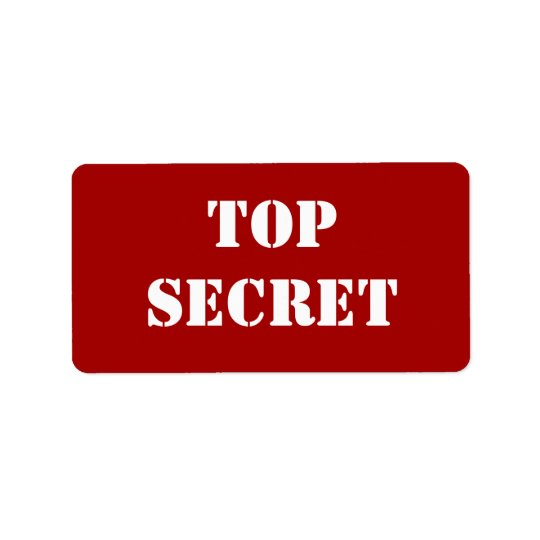 Red Stencil Top Secret Label