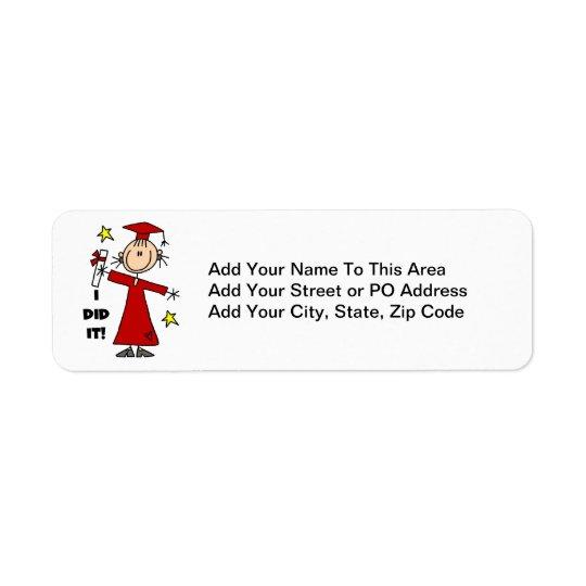 Red Stick Figure Girl Graduate Return Address Label