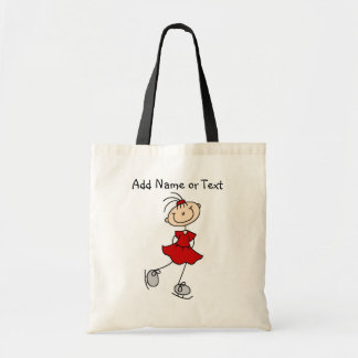 Red Stick Figure Girl Ice Skater Customized Bag