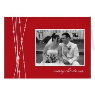 Red sticks & snow Christmas holiday photo greeting Card