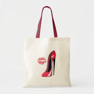red stiletto and kiss bag