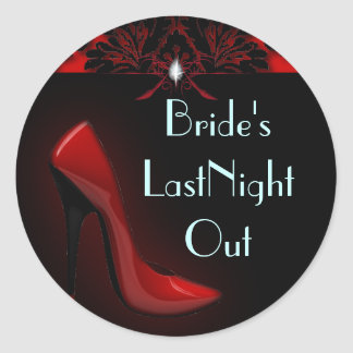 red Stiletto Bridal Shower bachelorette party Classic Round Sticker