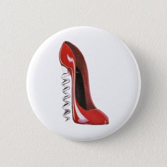 Red Stiletto Corkscrew Heel Shoe Button