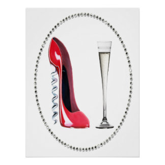 Red Stiletto Shoe and Champagne Flute Poster
