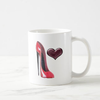 Red Stiletto Shoe and Heart Coffee Mug