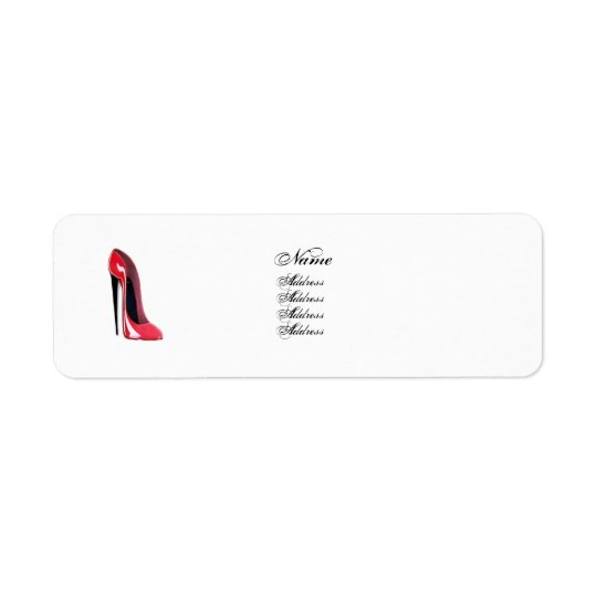 Red Stiletto Shoe Avery Label