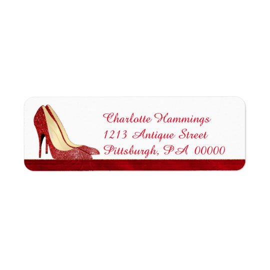 Red Stilettos Girly Address Label