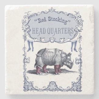 Red Stocking Rhinoceros Vintage Victorian Poster Stone Coaster