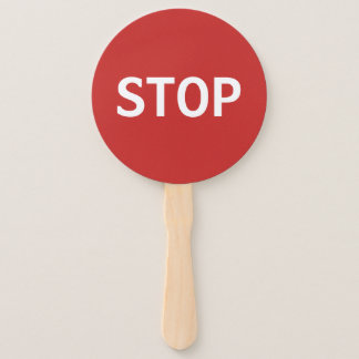 Red Stop Sign and Green Go Sign Hand Fan