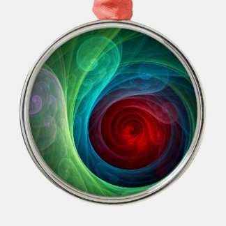 Red Storm Abstract Art Round Metal Ornament