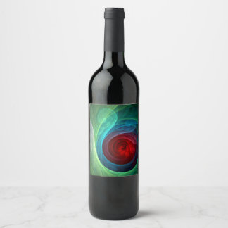 Red Storm Abstract Art Wine Label