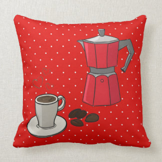 Red Stovetop Espresso Maker Cup Beans Throw Pillow