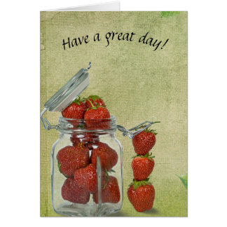 red strawberries in glass jar card