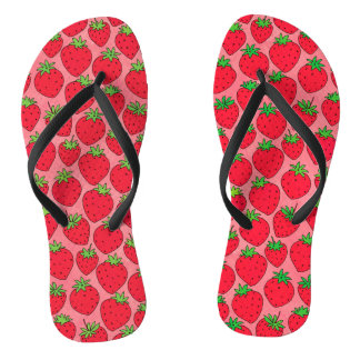 Red Strawberries on Pink Flip Flops