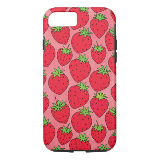 Red Strawberries on Pink iPhone 8/7 Case