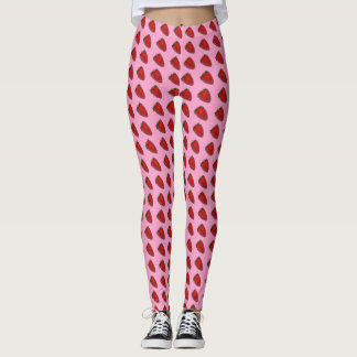 Red Strawberries on Pink Leggings