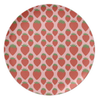 Red Strawberries on Pink Party Plates