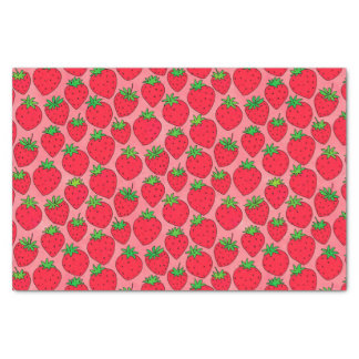 Red Strawberries on Pink Tissue Paper