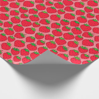 Red Strawberries on Pink Wrapping Paper