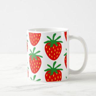 Red strawberries pattern coffee mug gift idea