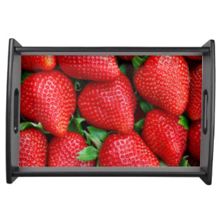 Red Strawberries Pattern Design Serving Tray