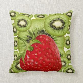 RED STRAWBERRY GREEN KIWI FRUIT PATTERN ART THROW PILLOW