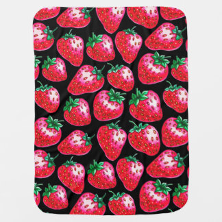 Red Strawberry on black background Baby Blanket