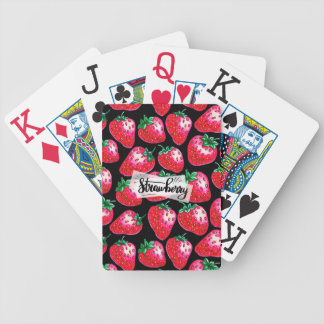 Red strawberry on  black background bicycle playing cards