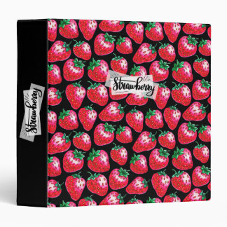 Red strawberry on  black background binders