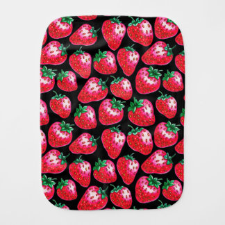 Red Strawberry on black background Burp Cloth