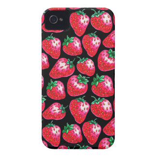 Red Strawberry on black background Case-Mate iPhone 4 Case
