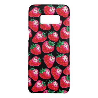 Red Strawberry on black background Case-Mate Samsung Galaxy S8 Case
