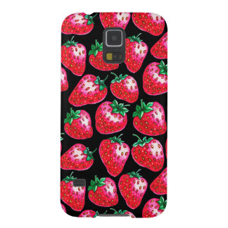Red Strawberry on black background Cases For Galaxy S5