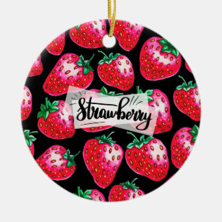 Red Strawberry on black background Ceramic Ornament