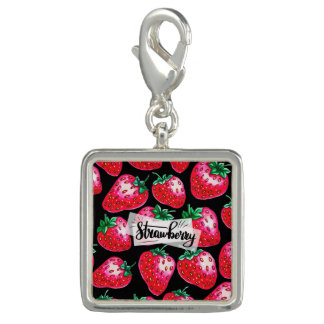 Red Strawberry on black background Charm