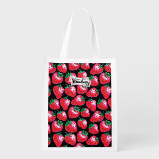 Red strawberry on  black background grocery bag