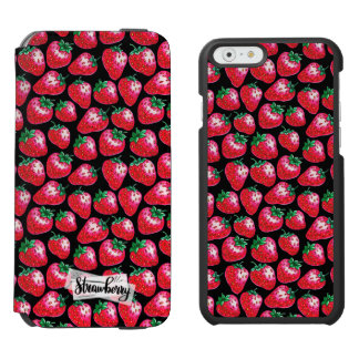 Red strawberry on  black background incipio watson™ iPhone 6 wallet case